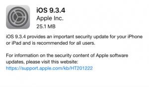 نظام تشغيل الأجهزة الذكية المحمولة برقم iOS 9.3.4